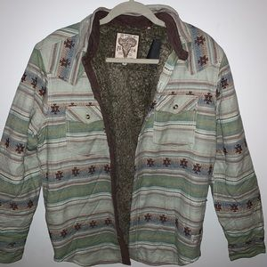 Men's fur lined jacket button up indie style